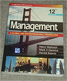 Management A Global Perspective Heinz Weihrich Harold Koontz