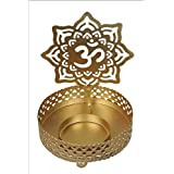 1pc Decorative Forged OM Shaped Design Home Decor Metal Tea Light Candle Holder