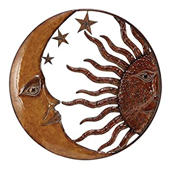 Deco 79 Metal Sun Moon Wall Decor, 21-Inch
