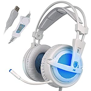 Sades 7.1 Virtual Surround Sound USB Stereo Gaming Headset PC Over Ear Headphones with Microphone Volume Control