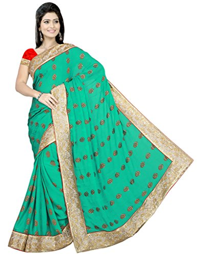 Alethia Green Chiffon & Jacquard Indian Wear Hand Work Embroidered Sarees With Unstitched Blouse