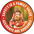 """Accuform Signs MFS786 Slip-Gard Adhesive Vinyl Round Floor Sign, Legend """"SAFETY IS A FAMILY VALUE ACCIDENTS ARE AVOIDABLE"""", 17"""" Diameter, White"""