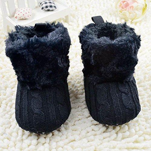 Weixinbuy Baby Girls Knit Soft Fur Winter Warm Snow Boots Crib Shoes