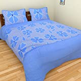 BRiDA Cotton Double Bedsheet With 2 Pillow Covers (225 Cms X 225 Cms, Blue )