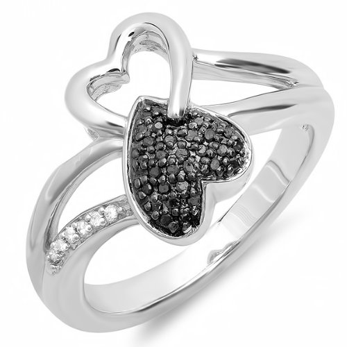 0.10 Carat (ctw) Sterling Silver Round Black & White Diamond Ladies Promise Two Double Heart Infinity Love Engagement Ring