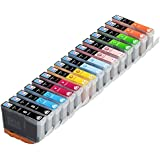 Skia Ink Cartridges ¨ 16 Pack Compatible with Canon 8(CLI-8BK CLI-8C CLI-8M CLI-8Y CLI-8PC CLI-8PM CLI-8R CLI-8G) for PIXMA Pro 6000, PIXMA Pro9000, PIXMA Pro9000 Mark II, PIXMA 6500
