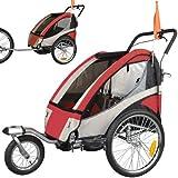 Jogger Remorque à Vélo 2 en 1, pour enfants + Amortisseur 504S-01 Rouge-Noir