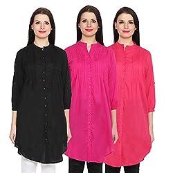 NumBrave Black, Magenta & Dark Pink Long Cotton Top (Pack of 3)