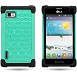 CoverON® Hybrid Dual Layer Diamond Case for LG Optimus F3 Metro PCS / T-Mobile - Teal Hard Black Soft Silicone