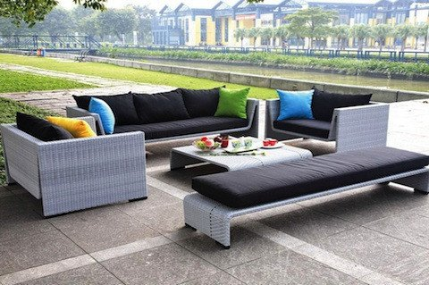 TOSH Furniture Outdoor Gray Sofa Set picture