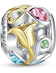 Glamulet And Gold Rose Openwork Swarovski Charm 925 Sterling Silver Fits Pandora Bracelet