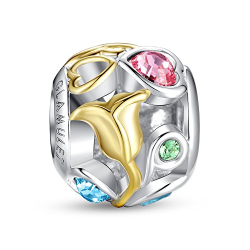 Glamulet Art Women's 925 Sterling Silver Crystal Gold Rose Openwork Bead Charms Fit Pandora Bracelet (Gold Charm Brackets compare prices)