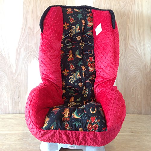 Toddler Car Seat Cover- Black Tattoo With Red (Standard) front-44993