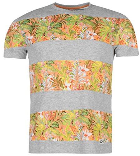mens-short-sleeves-panel-print-t-shirt-top-medium-grey-marl