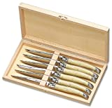 Laguiole Steak Knives with Light Horn Effect Handles - Set of Six