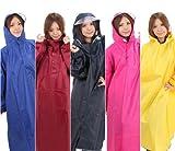 [Amagoo] レインコート (ポンチョタイプ、袖つき) カラー5色 【ブルー/レッド/イエロー/ネイビー/ピンク】 男女兼用 フリーサイズ (ネイビー(濃紺))