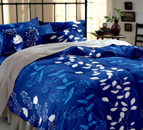 Home-Ecstasy-100-Cotton-Printed-Bedsheet-Set-3016-BlueDouble