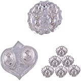 GS MUSEUM Silver Plated Rani Kumkum Plate, Silver Plated Pan Kumkum Plate And Silver Plated Set Of 6 Lotus Incense...