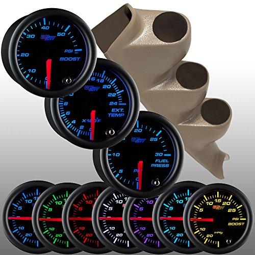 Glowshift Tan 00-06 Chevrolet Silverado Duramax & Gmc Sierra Diesel Gauge Package + Black 7 Color 60 Boost, 2400 Egt & 30 Fuel Pressure Gauges