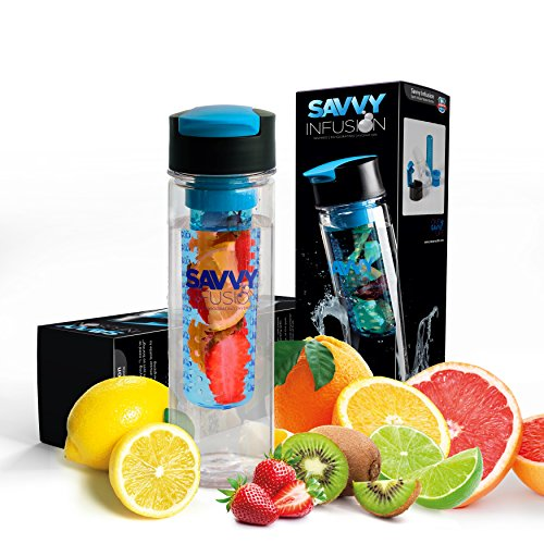 Savvy Infusion - Flip-Top Sport Infuser Water Bottle - Enjoy Delicious Fruit Infused Beverages - Leak Proof Tritan Travel Tumbler - Perfect Infusing and Detox Bottle for Sports & Fitness Enthusiasts