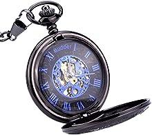 Mudder Reloj de Bolsillo Mecánico de los Hombres, Reloj Esqueleto de Manos Azul Escala