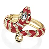 Brand New Ladies Stylish Gold Colour Diamante Red Enamel Snake Hinge Bangle