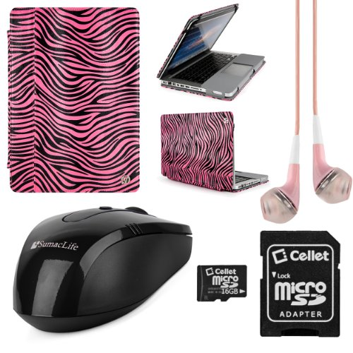 Mary Collection Leather Portfolio Carrying Case For Apple Macbook Pro 13.3-Inch Laptops + Pink Vangoddy Headphones + Black Usb Wireless Mouse + 16Gb Memory Card (Pink Zebra)