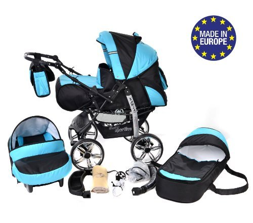 3-in-1 Travel System with Baby Pram, Car Seat, Pushchair & Accessories, Black & Turquise