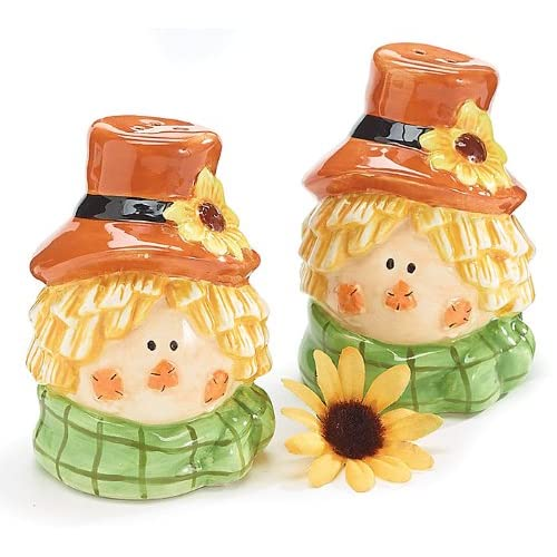 Scarecrow Head Salt & Pepper Shakers Fall Thanksgiving Holiday Decoration Gift