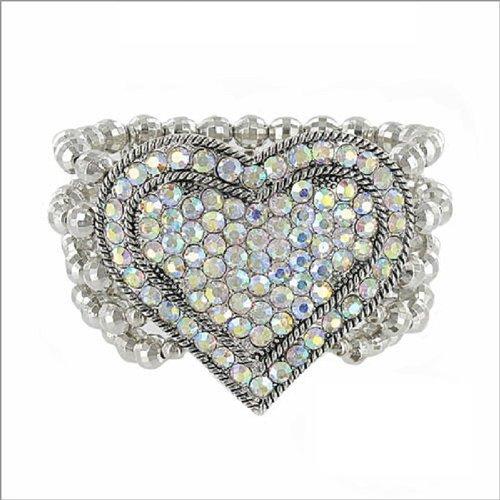 JOA 5 Line Crystal Stone Heart & Bead Bracelet #037770