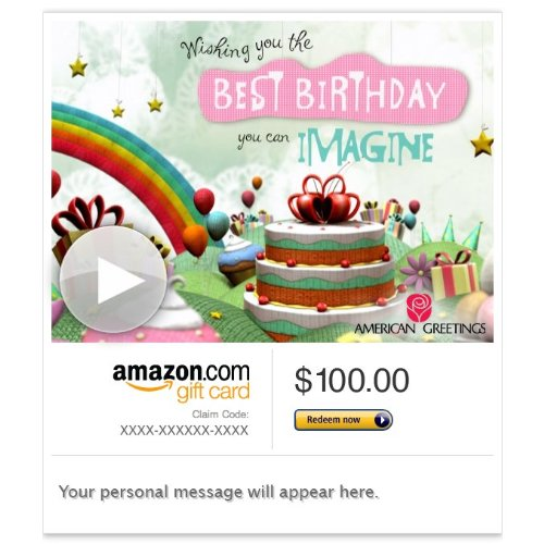 Amazon Gift Card - Email - Birthday Fantasy (Animated) [American Greetings]