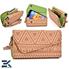 -TAN BROWN- Tribal-Urban Style Phone Case Walllet Clutch Motorola DROID RAZR M Wrist-let + Bonus Ekatomi Screen Cleaner -ESMLUCN1-