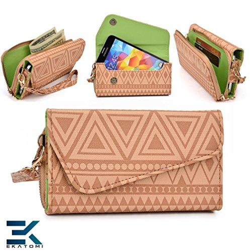Cream Tan : Woman'S Phone Wrislet Cover Case Purse Htc Amaze 4G Bonus Ekatomi Screen Cleaner front-619555