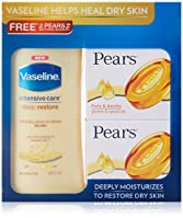 #1: Vaseline Intensive Care Deep Restore Body Lotion, 300ml with Free Pears Bathing Bar, 2x75g