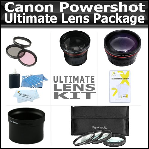 Ultimate Lens Package For Canon Powershot G12 G10 G11 Includes HD Wide Angle Lens + 3.5X Telephoto Lens + 3 Piece Filter Kit + 4 Piece Close Up Macro Lens Set With 10+ Macro Lens + Extras