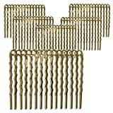 22K Gold Plated Metal Hair Combs - Fun Craft Beading Project 1 3/4 Inches (X6)