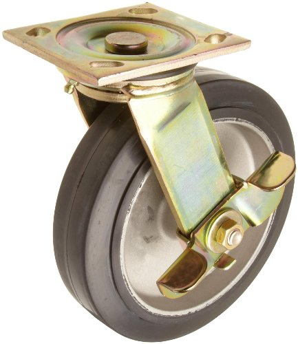 "E.R. Wagner 1F88 8"" Diameter Black Rubber Tread/Aluminum Hub Wheel Heavy Duty Swivel Plate Caster with Side Pinch Brake Top Grease Seal, 4-5/8"" Length X 4"" Width Plate, 500 lbs Capacity Range"