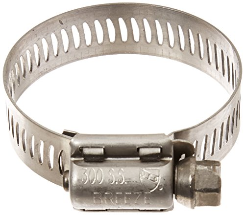Breeze 63020H Marine Grade Power-Seal Stainless Steel Hose Clamp, Worm-Drive, SAE Size 20, 13/16