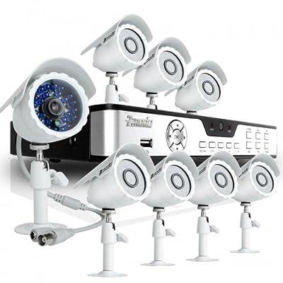 Zmodo KDB8-BARBZ8ZN-500GB 8CH H.264 DVR with 500GB HDD & 8 CMOS 480TVL 65ft IR Outdoor Security Cameras