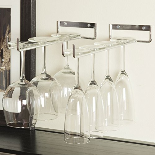 Rack and Hook Stemware Glass Rack  Wine Glass Holder Wall Mount or Under Cabinet  Chrome Finish  1 Pack (Wall Mount Wine Storage compare prices)