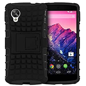 Carla Hard Dual Amor Hybrid Bumper back case with Flip Kick Stand for LG Nexus5 by Carla Store.