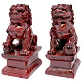 Oriental Furniture Good Great Best Unique Good Luck Office Corporate Gift Idea, 6-Inch Male and Female Shou Shan Foo Dog Bookends