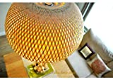 Handmade Rattan Lampshade - Ceiling Pendant Shade - Dome Hemisphere Shape - Natural Wood Colour (L001)