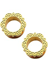 """Gold-Tone Lotus Surgical Steel Tunnel Plugs - 00G-1"""" - Pair"""