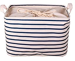 GreenForest Collapsible Laundry Storage Basket Classic Storage Box with Blue Stripe