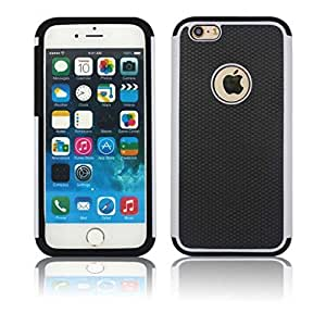 YCAun® Dual Layer Rugged Defender Case Skin for iPhone 6 4.7 inch Hybrid Impact Shockproof Hard Plastic with Soft Silicone Case Cover 2 in 1 (Black -White)