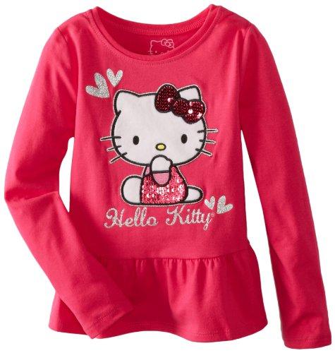 Hello Kitty Little Girls' Long Sleeve Velour Top, Fuchsia Purple, 6 front-895446