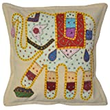 Lalhaveli Classic Elephant Art Patchwork Embroidery Cotton Pillow Cover 16 Inches 1 Pc - B00MXUR32S