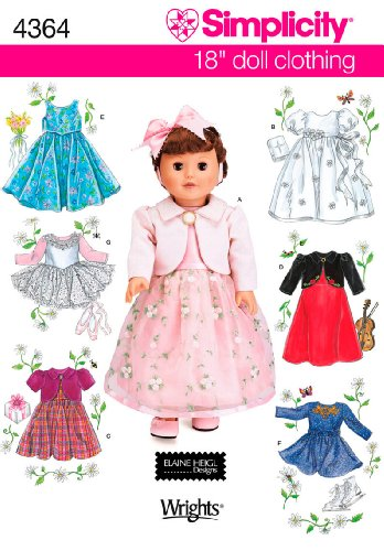 Simplicity Sewing Pattern 4364 Doll Clothes, One Size