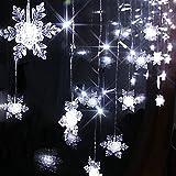Angelbubbles 2M x 1M 104球 室内装飾 クリスマスツリー、ワードローブ、結婚式、学園祭、ガーデンパーティー、フェンス、パティオ イルミネーション 飾りスター LED雪の結晶イルミネーションライト Home Led (雪の結晶 白 104球)